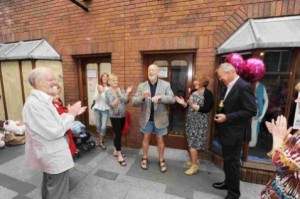Group of supporters opening the charity's temporary shop in the Orchard Shopping Centre