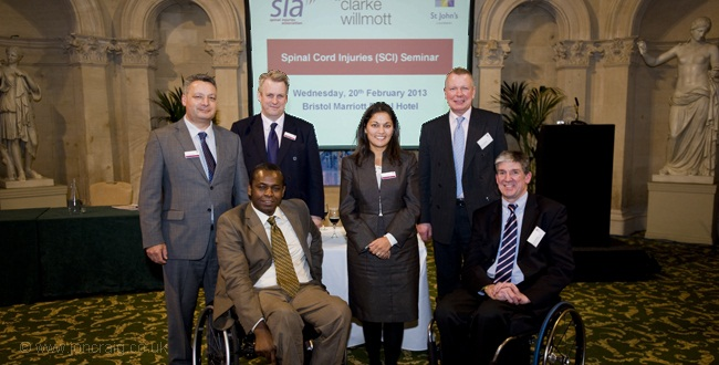Representatives from the Spinal Injuries Association (SIA) and Clarke Willmott at the seminar