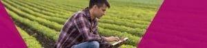 Modern farmer using a tablet in a field