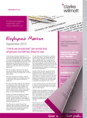 Employment matters September 2013 front cover