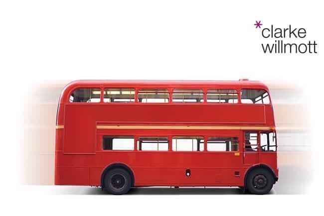 Red London bus with Clarke Willmott logo