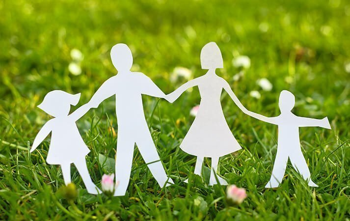 vorce and Family law image - paper people in a field