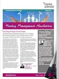 Housing Management newsletter Spring 2016 front cover