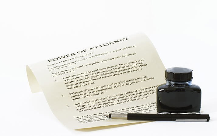 Lasting power of attorney document, next to pen and inkwell