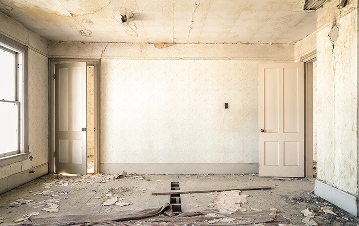 Empty dilapidated room