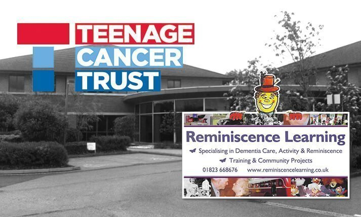 Logos of Teenage Cancer Trust and Reminiscence Learning charities with the Clarke Willmott solicitors Taunton office in the background