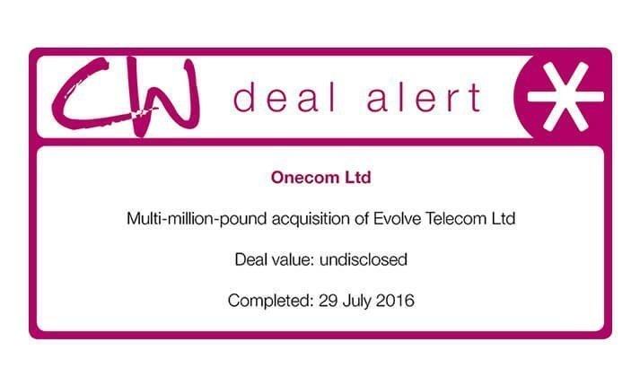 Clarke Willmott deal alert logo with Onecom acquisition details