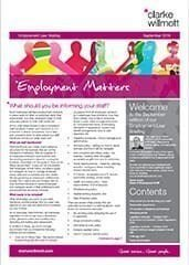 Employment matters September 2016 front cover