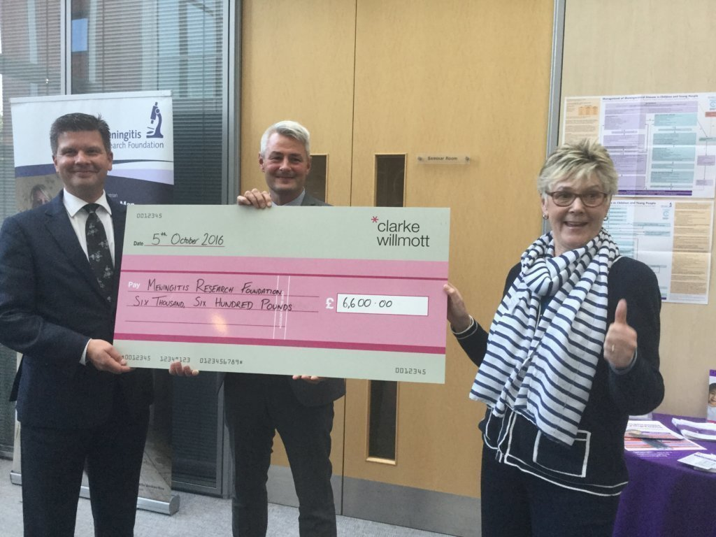 Steve Trump presenting the cheque for £6,600 to meningitis research foundation