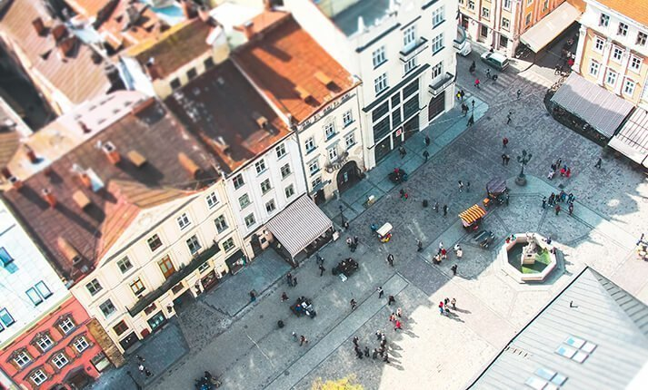 A town square from above