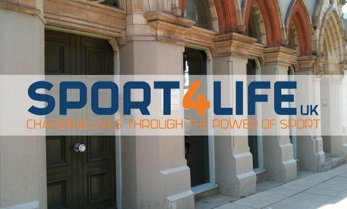 Sport 4 Life logo in front of Clarke Willmott Birmingham office