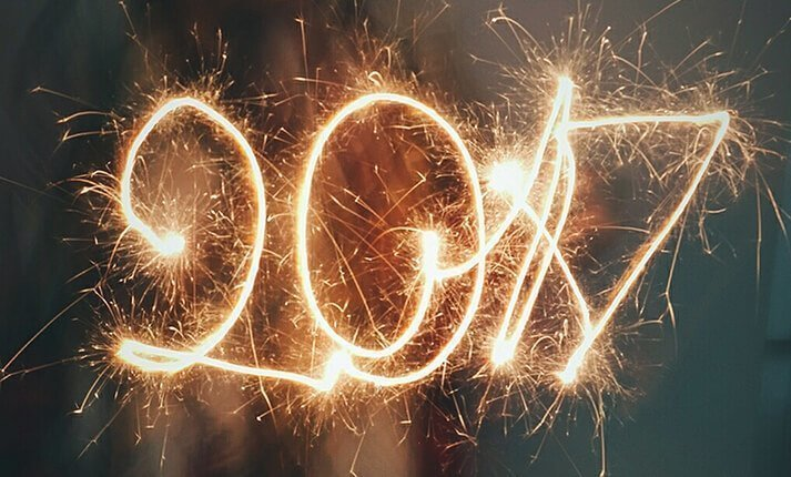 2017 written out in sparkler trails