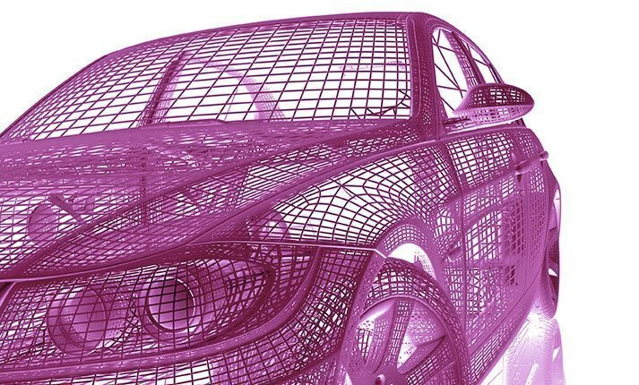 Wireframe design of a car