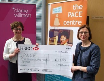 Kerry Fifield presenting Amanda Richardson; CEO of PACE with a cheque for £1100
