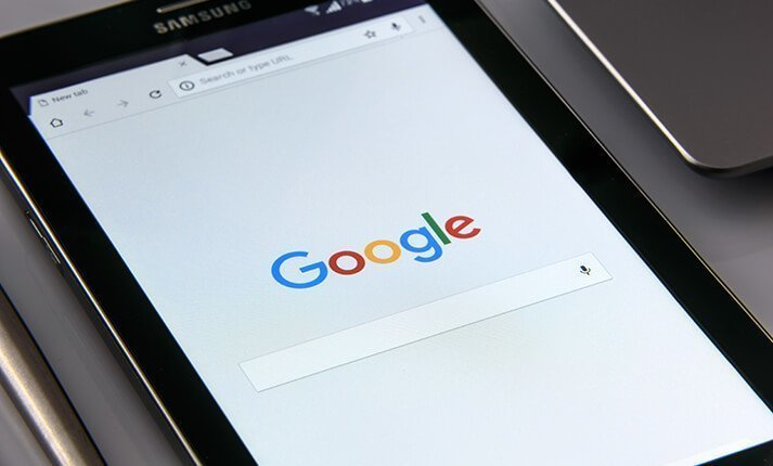 Tablet displaying the Google hompage