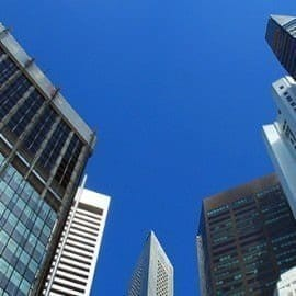 Skyline buildings with a blue sky background