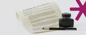 Power of attorney form, fountain pen, and a bottle of ink