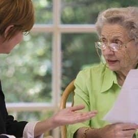 Lawyer giving advice to client