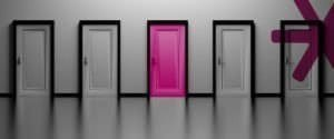 Five doors in a row. Four grey. The centre door is pink.