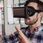 Man testing a VR headset
