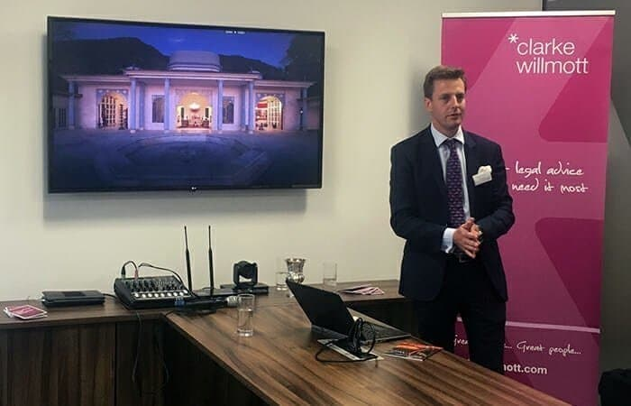 Bonhams UK Director and auctioneer Charlie Thomas giving a talk at Clarke Willmott's London office