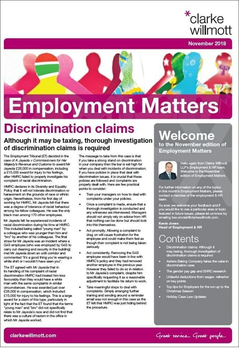 Employment Matters - November 2018 - View PDF