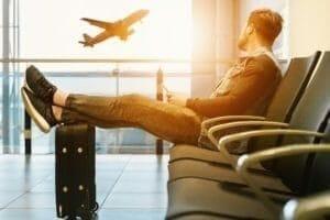 airport aeroplane man sitting