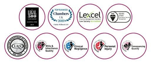 Clarke Willmott's industry accreditation and recognition logos