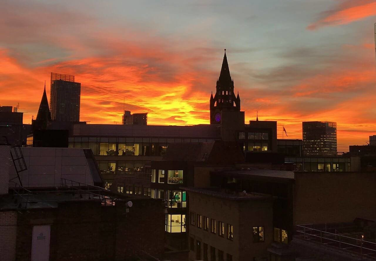 Winter 2018 - Photo Competition Winner - Nelema Akhtar - Sunset across the city skyline Manchester